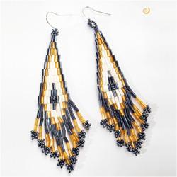 Boucles d'oreilles longues en perles Tissage et Franges