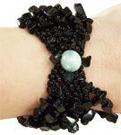 Bracelet noir perles et chips de pierre