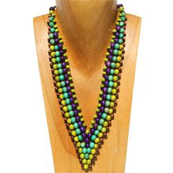 Collier Bois forme V Perles en Bois Trés Original - Anis - Vert - Violet