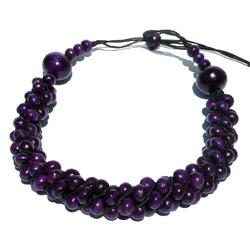 Collier Original ajustable Torsade de perles en Bois Violet Artisanat de Bali