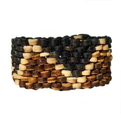 Bracelet élastique tissage de perles en noix de coco Noir Beige Marron