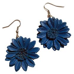Boucles d'oreille Originales en cuir Fleurs Bleues Cobalt