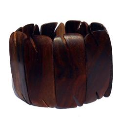 Gros Bracelet en bois naturel forme originale - Artisanat de Bali