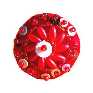 Bague rouge originale ronde en perles et sequins