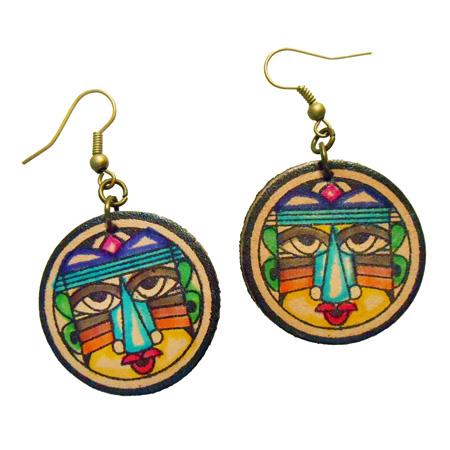 Boucles d'oreilles Originales rondes multicolores en simili cuir imprimé