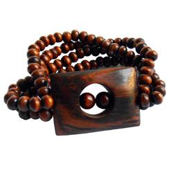 Bracelet en Bois élastique forme rectangulaire en palissandre