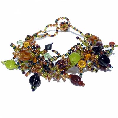 Bracelet original en perles de rocaille et pâte de verre Vert Anis Marron Ambré