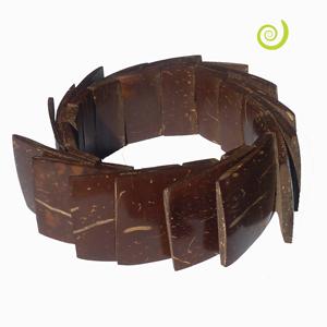 Bracelet Original en noix de coco lamelles carrées sur élastiques