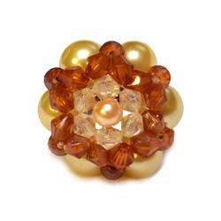 Bague en perles artisanale modèle Luna couleurs champagne ambrée