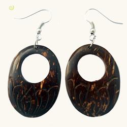 Boucles d'oreilles ovales en noix de coco