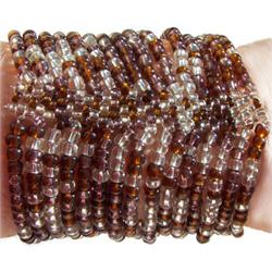 Bracelet Manchette 15 rangs en perles transparentes / marrons ambrées