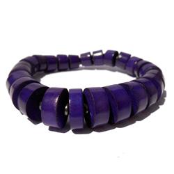Bracelet en bois violet perles teintées