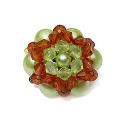 Bague en perles modèle Luna couleur vert d'eau et ambré