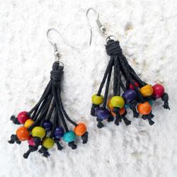 Boucles d'Oreilles Originales Perles en Bois Multicolores sur cordon