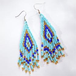 Boucles d'oreilles en perles de rocaille à Franges Bleues et Dorées