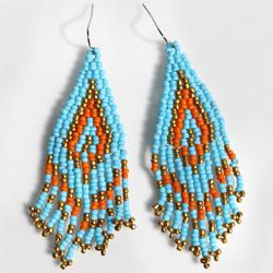 Boucles d'oreilles en perles de rocailles Originales Tissage et Franges