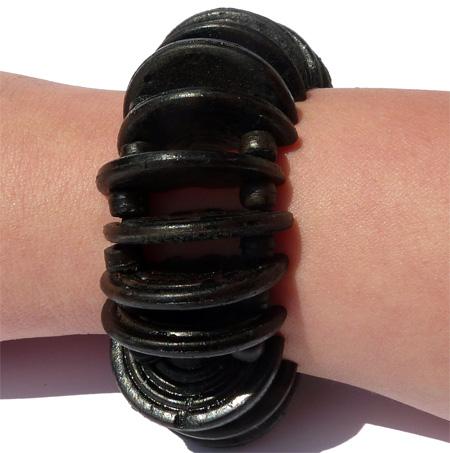 Bracelet Original en noix de coco demi-cercles Noir sur élastiques