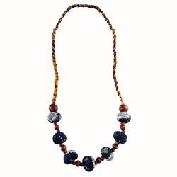Collier Mode Ethnique Perles en Bois et Tissu Batik