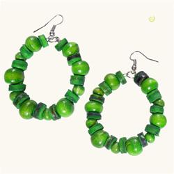 Boucles d'Oreilles Vertes Anneaux Perles en Bois et en noix de Coco