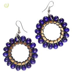 Boucles d'oreilles en bois et noix de coco Violettes