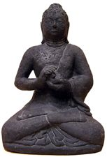 Statuette Bouddha en pierre de lave