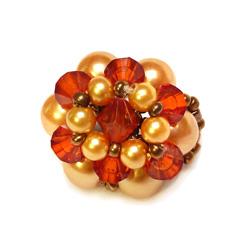 Bague en perles nacrées modèle Luna Couleurs champagne et cuivré