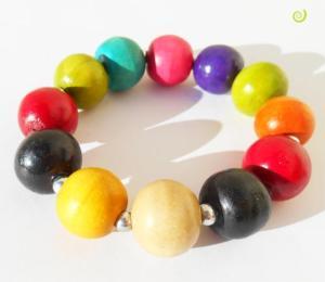 Bracelet Original en Bois Multicolore Perles Boules en Bois Teinté