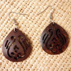 Boucles d'Oreilles en Noix de Coco forme Gouttes avec motifs ajourés