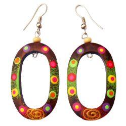 Boucles d'oreilles en bois peint ovales et multicolores