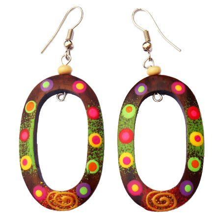 boucles d'oreilles en bois ovales décor peint multicolore artisanales