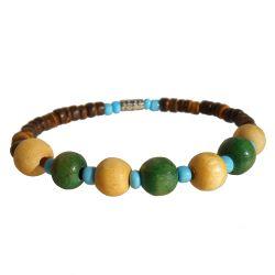 Bracelet surf perles en noix de coco et bois Vert et Bleu