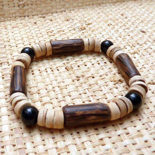 Bracelet surf perles en noix de coco, bois de palmier et verre noir