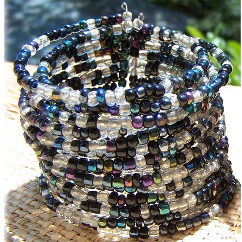 Bracelet manchette en perles de rocaille Noir Transparent Irisé 15 rangs