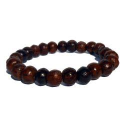 Bracelet en bois un rang de perles rondes en bois de palmier coco