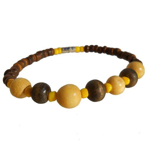 Bracelet perles en noix de coco et bois avec rocailles jaunes Pour Garçon ou Fille