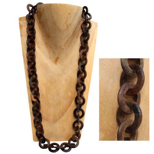 Collier artisanal Original Anneaux en Bois brut naturel