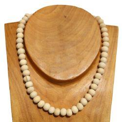 Collier perles en bois clair naturel brut Pour Homme ou Femme