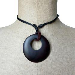 Collier Original cordon Pendentif rond en bois teinté
