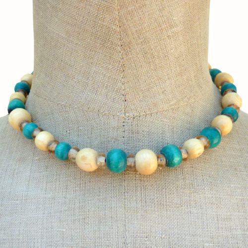 Collier perles en bois rondes et pâte de verre Vert Bleu Jaune