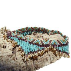 Bracelet de cheville en perles de rocailles Franges Bleu Beige Doré