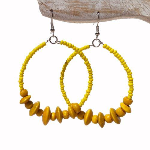 Boucles d'Oreilles Jaunes Anneaux Style Créoles Rocailles et Perles en Bois