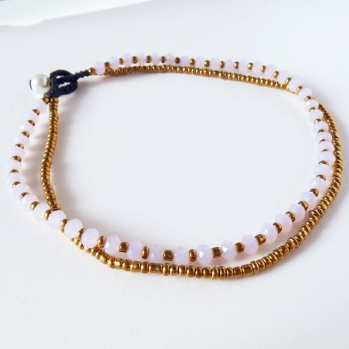 Bracelet de cheville 2 rangs de perles rose pâle et cuivré Artisanat de Bali