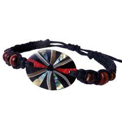 Bracelet médaillon mosaïque de nacre coquillage et corail sur cordon ajustable