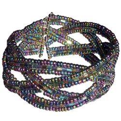 Bracelet croisés en perles de rocailles irisées métallisées