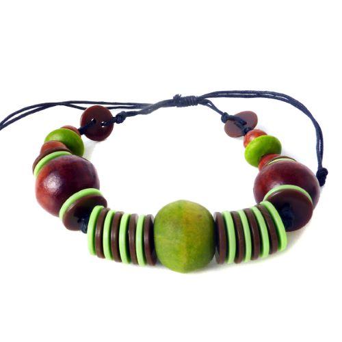 Bracelet original Perles en bois et boutons artisanal Vert et Marron