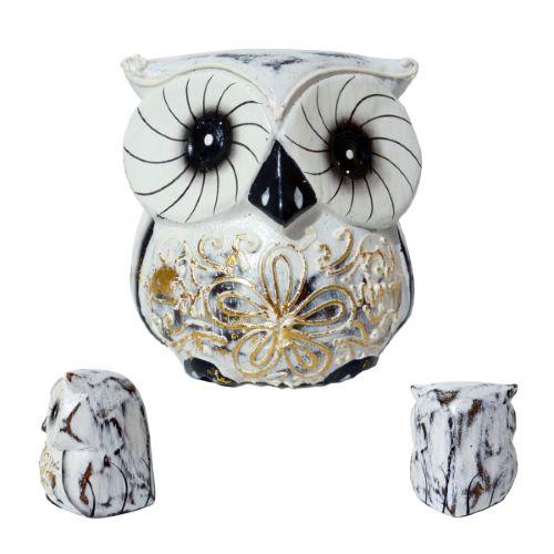 Petite chouette Hibou en bois Artisanat naïf décor Fleur 7 cm