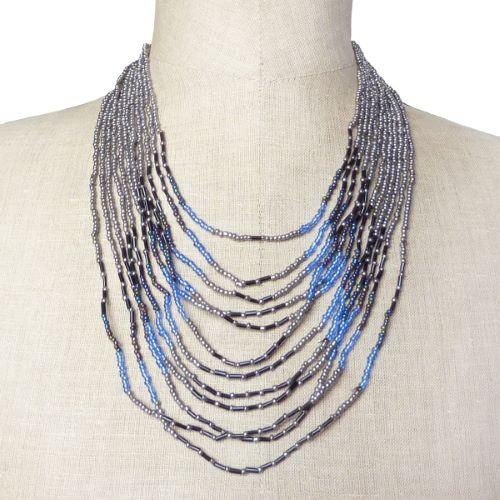 Collier rangs de perles de rocaille couleur métal bleu transparent noir