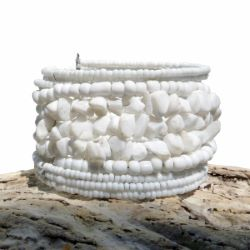 Bracelet Blanc manchette petites pierres blanches et perles de rocaille