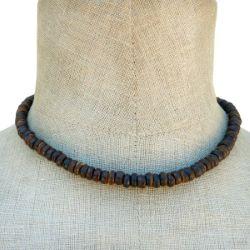 Collier Surf Perles en noix de coco couleur naturelle Look Vintage