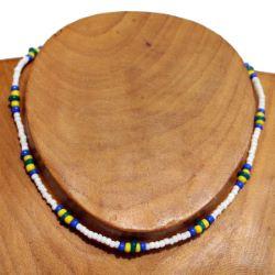 Collier ras de cou Perles de Rocaille Verre Blanc Bleu jaune
